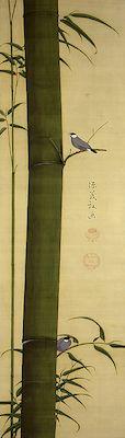 「竹に文鳥図」